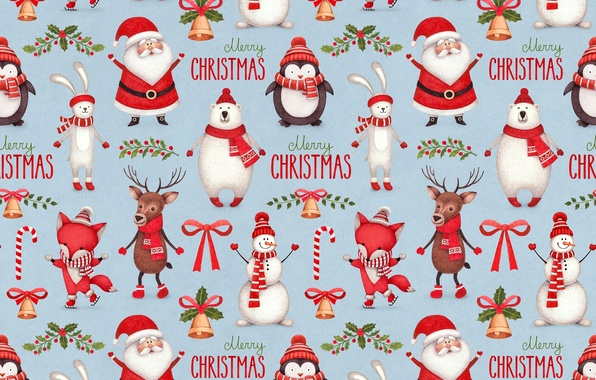 Picture hare, deer, bear, Fox, penguin, snowman, Santa Claus, bell