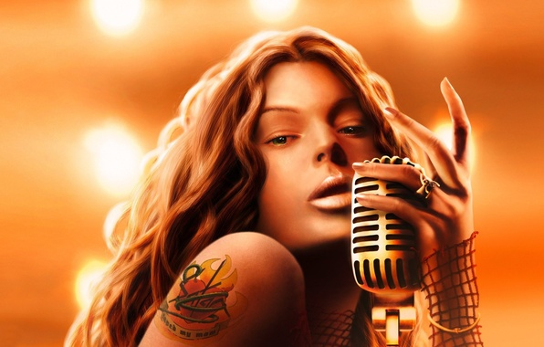 Picture girl, heart, ring, tattoo, art, tattoo, microphone