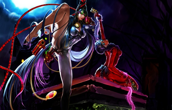 Picture night, weapons, girls, the moon, glasses, bayonetta