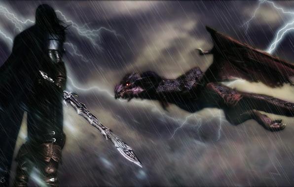 Picture rendering, background, rain, lightning, dragon, sword, warrior