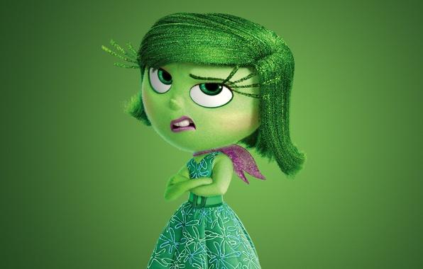 Picture green, girl, dress, chibi, flowers, face, scarf, adventure, hana, 2015, Pixar Animation Studios, five emotions, …