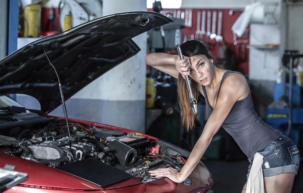 Picture girl, Ford, mechanic, garage, workshop, repair