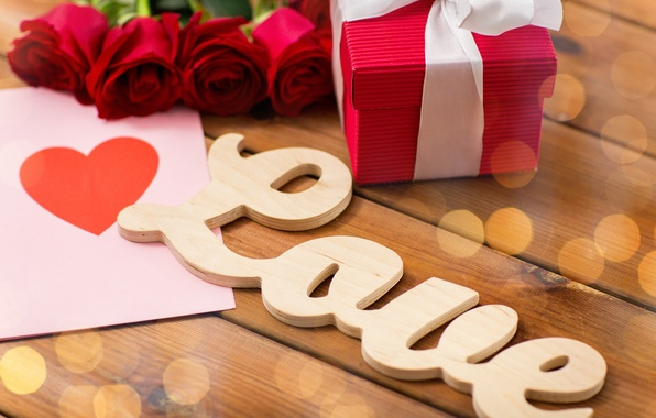 Picture love, letters, gift, heart, roses, buds, Valentine's Day