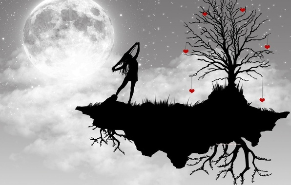 Picture girl, tree, the moon, vector