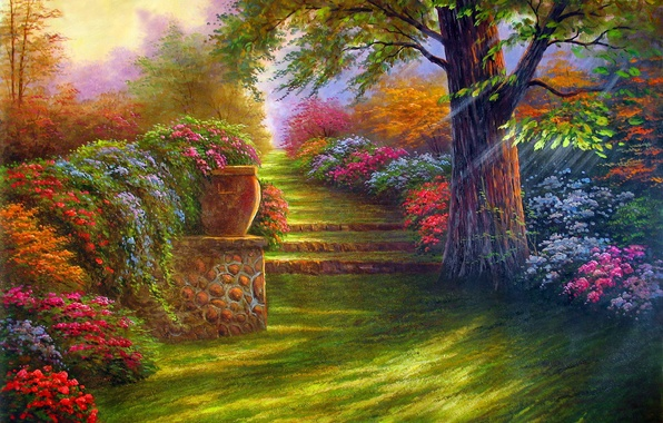 Picture road, landscape, flowers, nature, tree, garden, steps, painting
