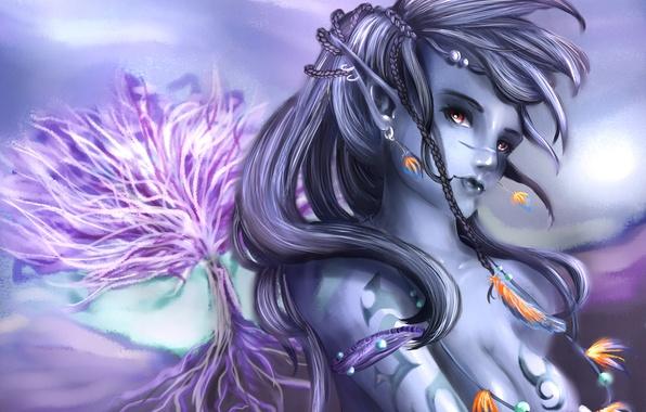Picture girl, decoration, tree, elf, feathers, art, braids, elf, dark, SenRyuji