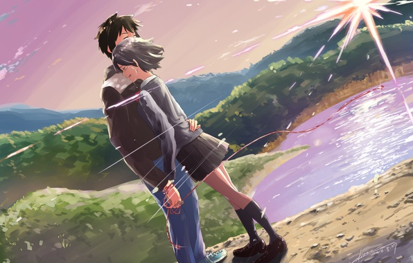 Photo Wallpaper Landscape Romance Anime Hugs Two Kimi No VA On