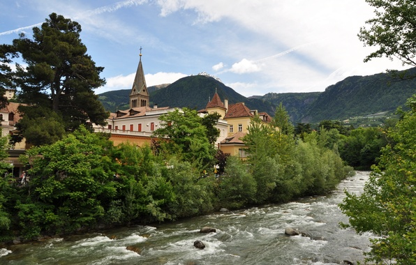 Picture mountains, nature, the city, river, Italy, architecture, Italy, trees., Merano