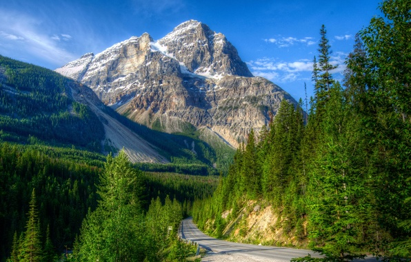 Picture road, forest, landscape, mountains, nature, Park, HDR, slope, Canada, Yoho