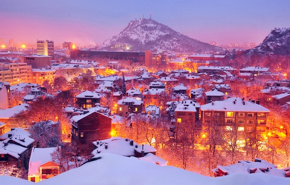 Picture winter, light, snow, trees, the city, lights, lights, mountain, home, City, winter, Bulgaria, Bulgaria, Plovdiv, …
