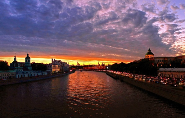 Picture the sky, clouds, sunset, the city, river, photo, dawn, Moscow, Russia, water channel
