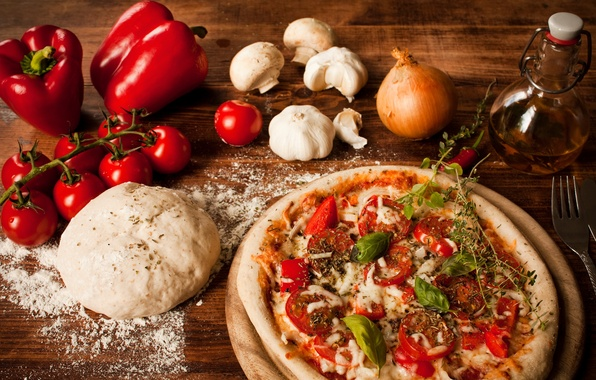 Picture mushrooms, oil, cheese, bow, pepper, pizza, tomatoes, pizza, dish, garlic, flour, the dough, Bulgarian