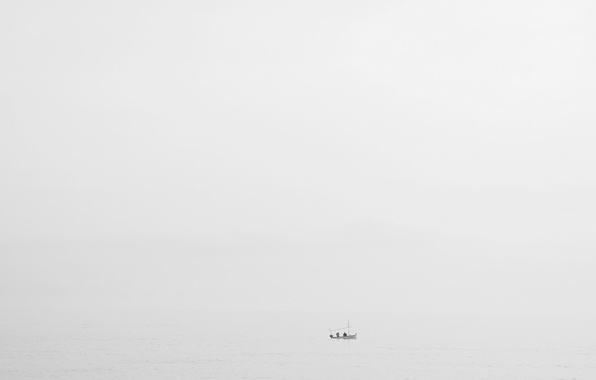 Picture sea, fog, boat, fishermen, rainy