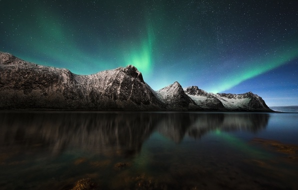 Picture the sky, stars, mountains, night, Northern lights, Norway, North