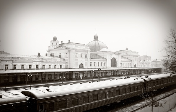Picture winter, snow, station, train, railroad, Ivano-Frankivsk