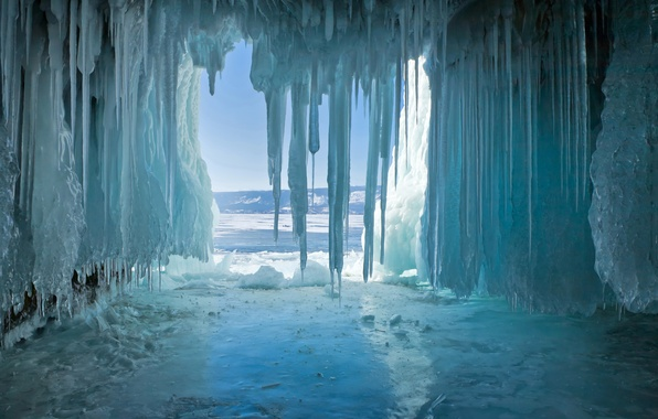 Picture ice, winter, lake, icicles, Baikal, cave, the grotto
