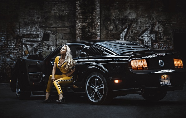 Picture girl, Mustang, Ford, blonde, Ford Mustang