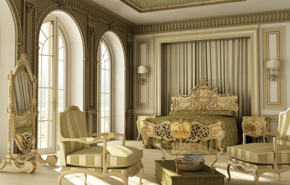 Picture design, style, bed, interior, mirror, luxury, bedroom
