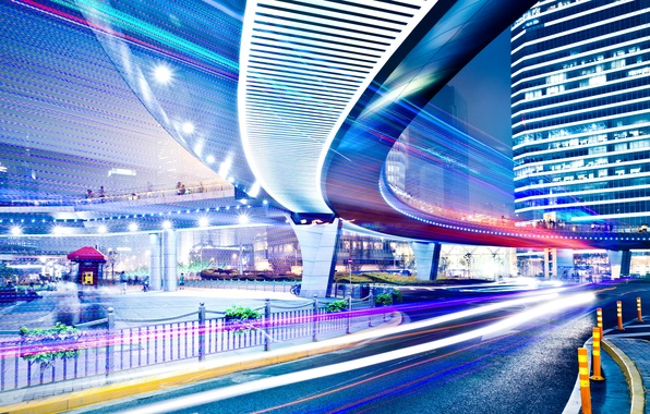 Picture road, night, the city, lights, movement, people, street, building, signs, traffic, road, high, street lights, …