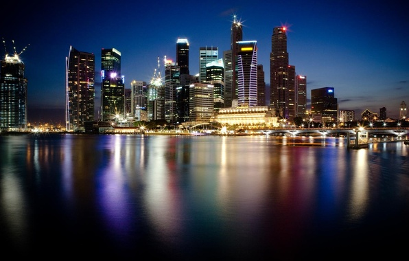 Picture water, the city, lights, reflection, photo, Wallpaper, skyscrapers, Singapore, night, megapolis