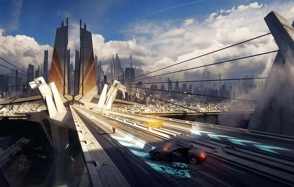 Picture machine, bridge, the city, fire, people, skyscrapers, art, cables, grivetart