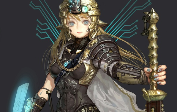 Picture girl, sword, armor, art