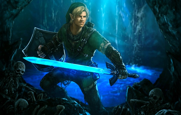 Picture sword, cave, shield, elf, The Legend of Zelda, Link, Liam Hemsworth