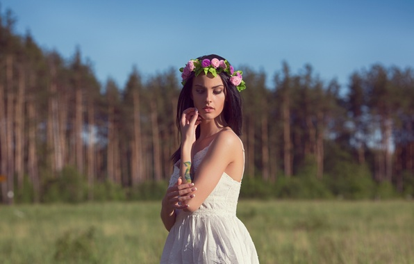 Picture field, forest, girl, trees, nature, model, portrait, dress, brunette, tattoo, touch, sexy, beautiful, wreath, pine, ...