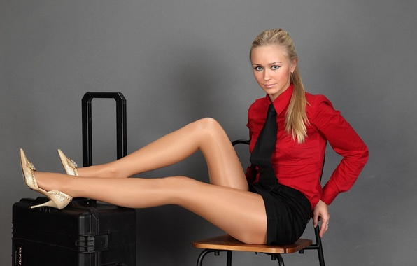 Picture girl, model, skirt, ring, blonde, chair, tie, shoes, blouse, heels, suitcase, tights, shirt, Alena