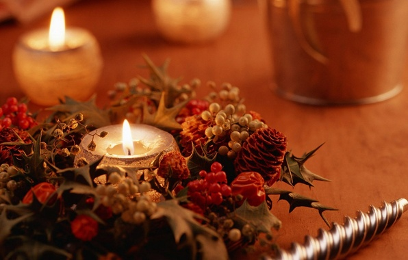 Picture decoration, photo, mood, fire, holiday, Wallpaper, new year, Christmas, candle, picture, heat