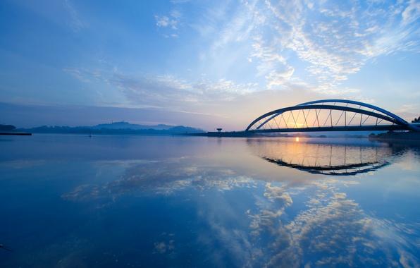 Picture the sky, clouds, bridge, city, the city, Strait, dawn, morning, sky, bridge, clouds, morning, Malaysia, …