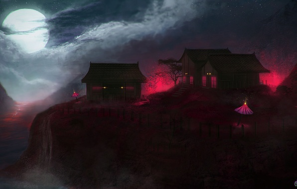 Picture clouds, night, lights, the moon, waterfall, home, slope, art, umbrellas, lava