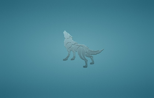 Picture animal, wolf, dog, minimalism, blue background, howling