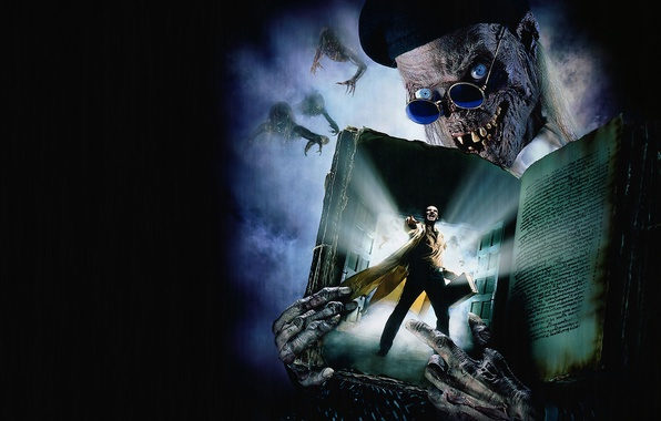 Picture smile, the dark background, the demon, creatures, skeleton, book, suitcase, Tales from the crypt: Demon …