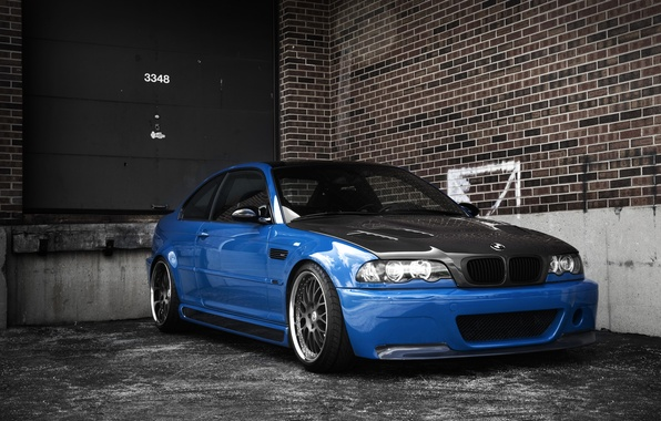 Picture blue, bmw, BMW, blue, e46, carbon fiber hood