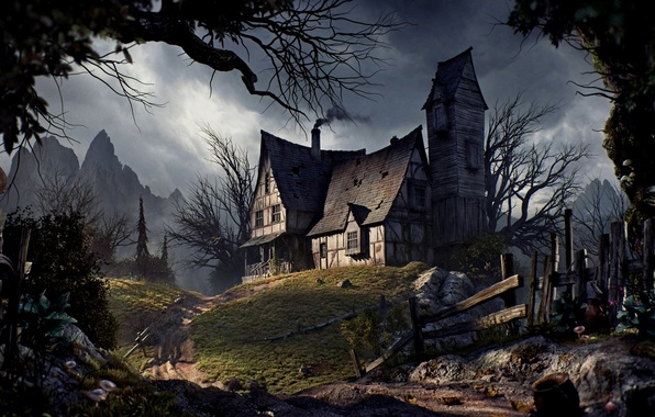 Picture fence, mountains, road, Old house, trees, Halloween, Old house, Halloween, the fence, trees, mountains, road