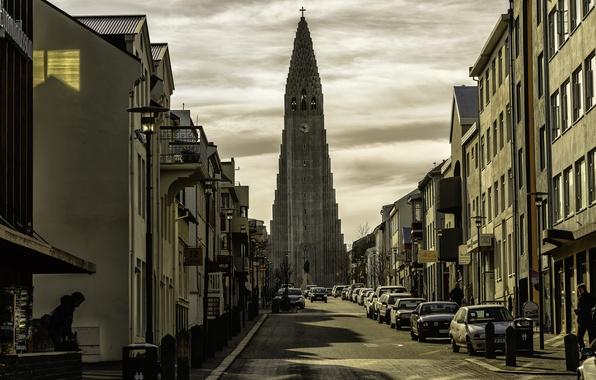 Picture auto, machine, street, building, Church, Iceland, Iceland, Reykjavik, Reykjavik, Hallgrimskirkja, Hallgrímskirkja Church