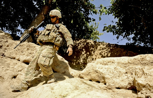 Picture mountains, weapons, soldiers, equipment, Afghanistan, U.S., stones.trees