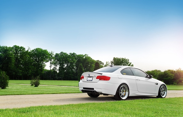 Picture white, the sky, trees, lawn, bmw, BMW, track, white, rear view, sky, trees, clouds, e92