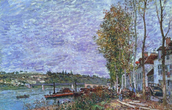 Picture trees, landscape, bridge, river, boat, home, picture, spring, steamer, Alfred Sisley, A gray day, Saint-MAMME