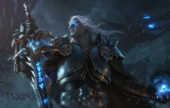 Picture magic, dragon, figure, sword, armor, fantasy, art, plate, sword, armor, fantasy, Lich King, Lich King, …