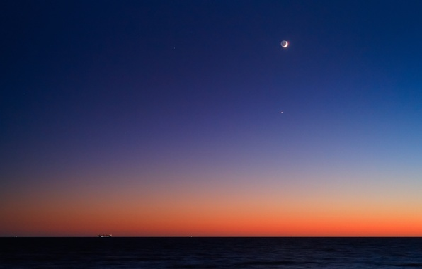 Picture sunrise, the ocean, ship, The moon, horizon, Venus, twilight, Regul