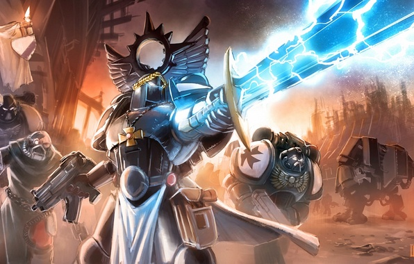 Picture weapons, lightning, cross, sword, armor, war, art, machine, warhammer 40k, banner, Loyvet Stone, The Black …