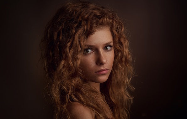 Picture look, girl, light, hair, portrait, shadow, freckles, Russia, the beauty, Julia, Julia, Stepan Gladkov