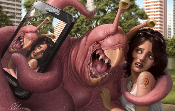 Picture girl, the city, photo, fiction, monster, tattoo, art, phone, selfie
