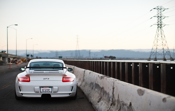 Picture road, white, the sky, light, white, porsche, Porsche, gt3, road, sky, back, GT3, bump, led …