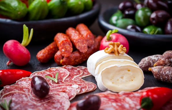 Picture cheese, pepper, nuts, olives, sausage, salami, radishes