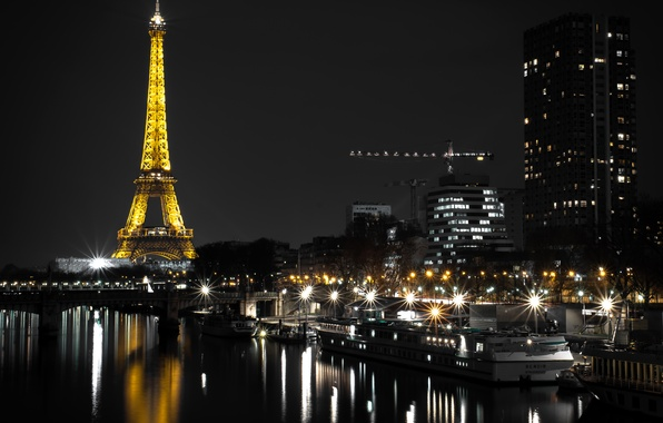Picture night, lights, river, France, Paris, home, lights, Eiffel tower, piers