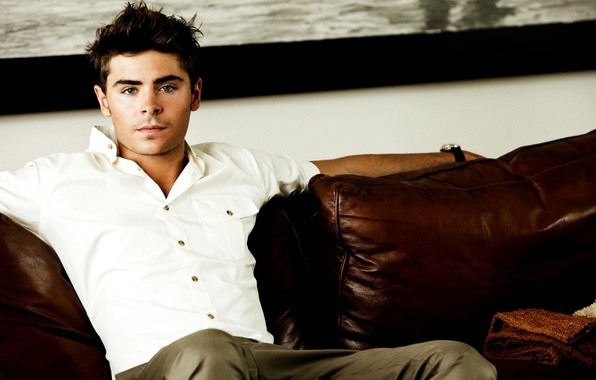 Picture look, face, sofa, hair, actor, male, shirt, guy, actor, pants, Zac Efron, Zac Efron