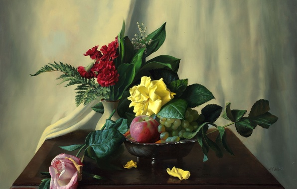 Picture flowers, berries, apples, roses, picture, fruit, still life, fern, lilies of the valley, table, clove